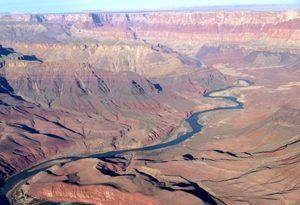 Aerial view of the Colorado River as it winds through the deep gorge at Grand Canyon National Park by Carol Highsmith.