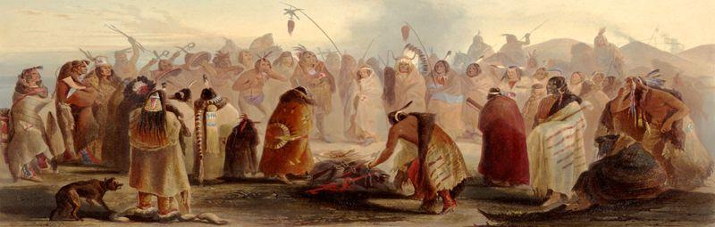 Hidatsa Dance by Karl Bodmer about 1840.