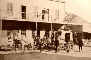 Stagecoach at the Southern Hotel in Rhyolite, Nevada.