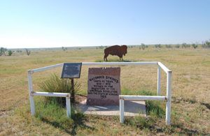 Wagon Bed Spring Marker near Ulysses, Kansas by Kathy Weiser-Alexander.