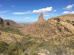 Weaver's Needle in the Superstition Mountains of Arizona, courtesy Wikipedia.