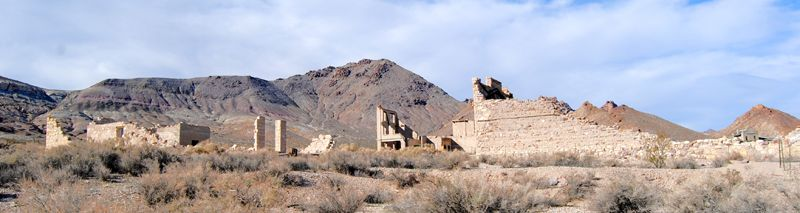 Building Ruins in Rhyolite, Nevada by Kathy Weiser-Alexander.