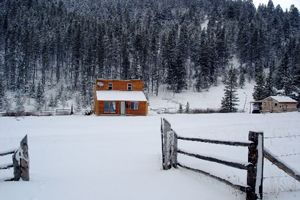 Albert's cabin during the winter.