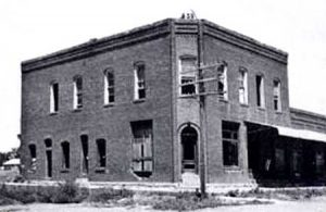 This substantial building that once stood in Bridgeport, Oklahoma is long gone today. Photo 1940.