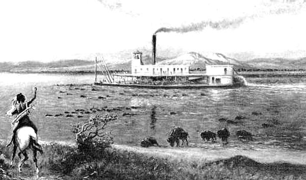 An Indian and steamboat on the Arkansas River near Tulsa, Oklahoma