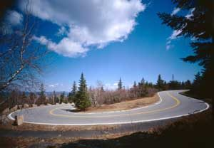 Horseshoe curve on Cadillac Mountain Road at Acadia National Park by the Historic American Building Survey.