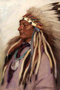 Lakota Chief Spotted Elk by Joseph H. Sharp, 1905