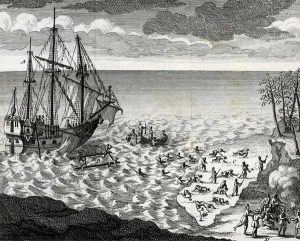 Sinking of the Pélican after the Battle of Hudsons Bay