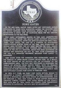 Fort Gates, Texas Historical Marker