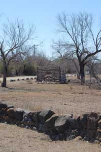 A log structure at Fort Inge, Texas by Kathy Weiser-Alexander.