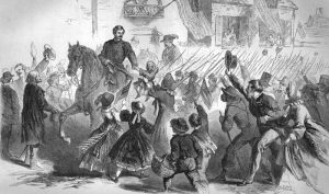 McClellan riding through Frederick, Maryland, in 1862 by Frank Leslie's Illustrated Newspaper