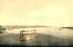 Steamboat on the Mississippi River in St. Louis, Missouri, George Catlin, 1832.