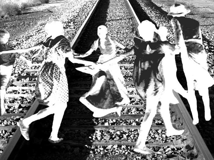 Ghostly Children on Train Tracks