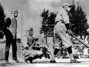 Both players and fans wore masks during this minor league game in 1918.