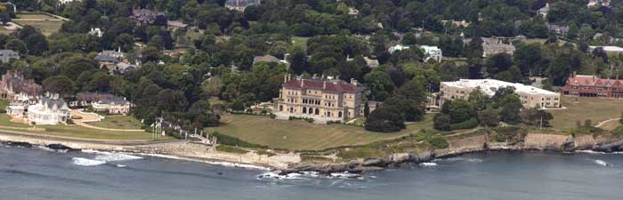 "The Breakers is the grandest of Newport's summer ""cottages"" and a symbol of the Vanderbilt family's social and financial preeminence in turn of the century America, by Carol Highsmith."