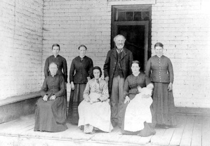 Mormon man with his wives, 1885