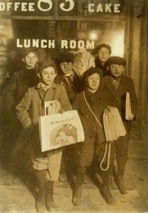 New York Newsboys by Lewis W. Hine, 1908.