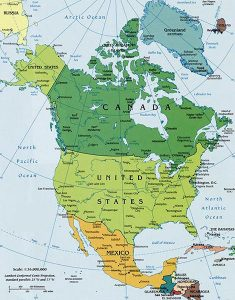 North America Map courtesy World Atlas