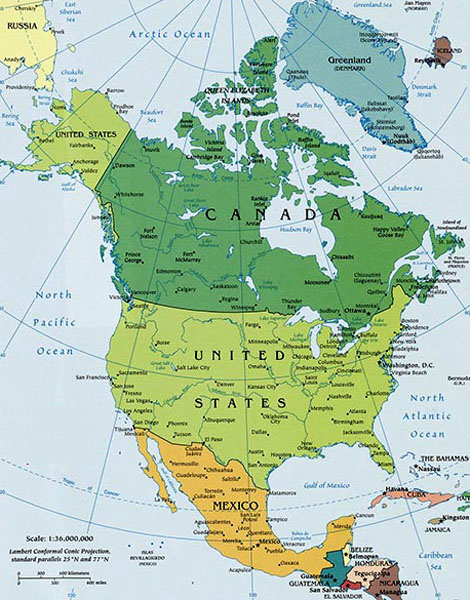 North America Map courtesy World Atlas