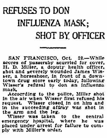 Man shot in San Francisco for refusing to wear mask.