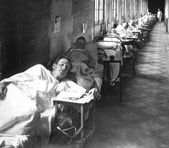 Soldiers with flu, 1918.