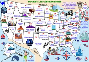 Bucket List Attraction in each State.
