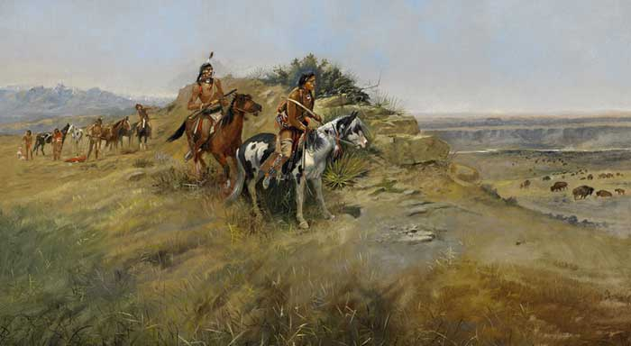 Buffalo Hunt by Charles M. Russell, 1891.