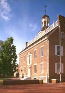 Old statehouse in Dover, Delaware by the Historic American Buildings Survey.
