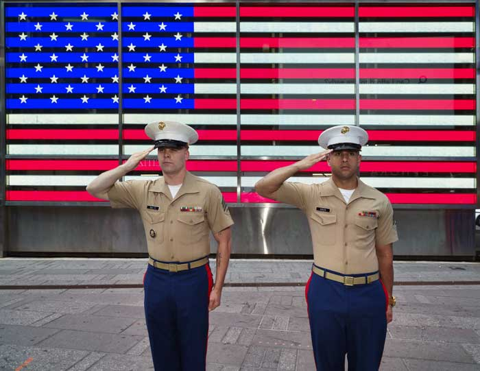 U.S. Marine sergeants salute the flag in Times Square, New York by Carol Highsmith.