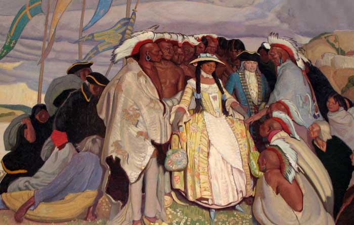 Bourgmont's Missouria Indian wife returns from France in 1725.