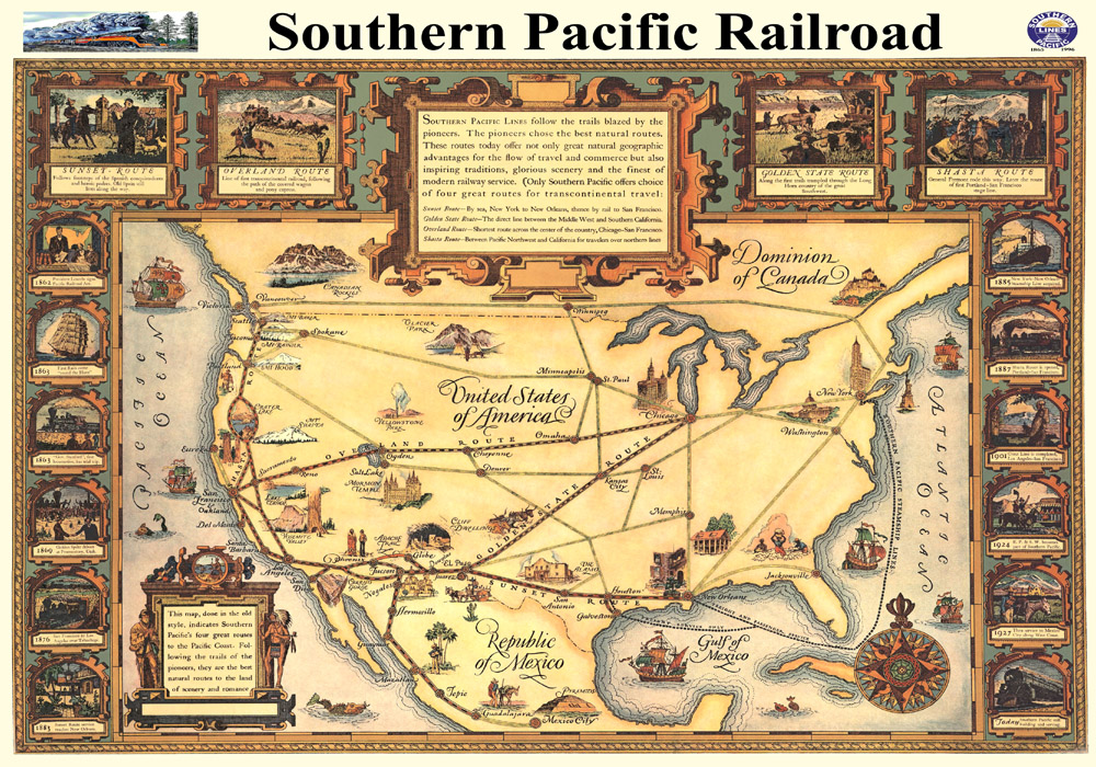 Southern Pacific Railroad Company Map, 1928