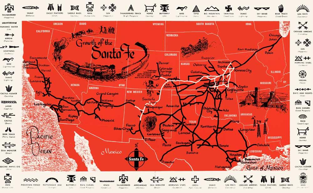 Santa Fe Railway Map, 1950