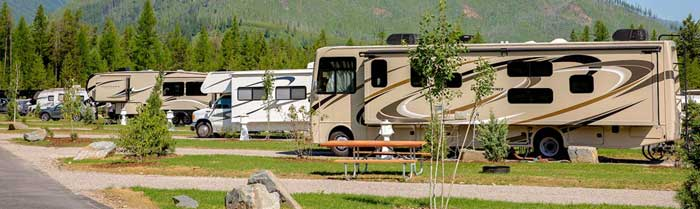 RV's at West Glacier RV Park in Montana.