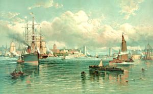 New York Harbor with Brooklin Bridge by Andrew Melrose, 1887.