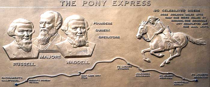 Pony Express Plaque in San Francisco, California.