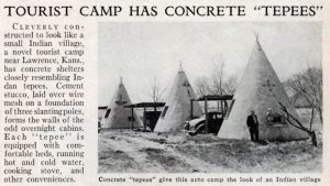 A 1936 newspaper clip shows that at least three of the teepee cabins survived the flood.