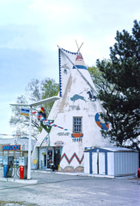 The Lawrence Teepee Gas Station was still open in 1977 by John Margolies.