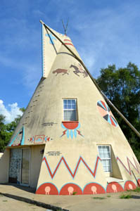 Former Teepee gas station in Lawrence, Kansas today by Kathy Weiser-Alexander.