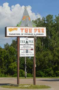 Teepee sign in Lawrence, Kansas by Kathy Weiser-Alexander.