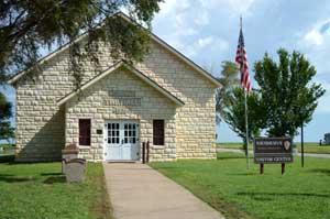 Township Hall in Nicodemus, Kansas by Kathy Weiser-Alexander.