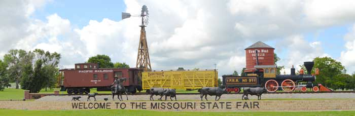 Sedalia, Missouri's entrance to the state fair celebrates in railroad and cowtown history by Kathy Weiser-Alexander.