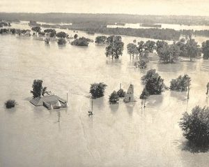 The Lawrence flood of 1935 completely buried the teepee cabins and the waters almost reached the top of the restaurant.