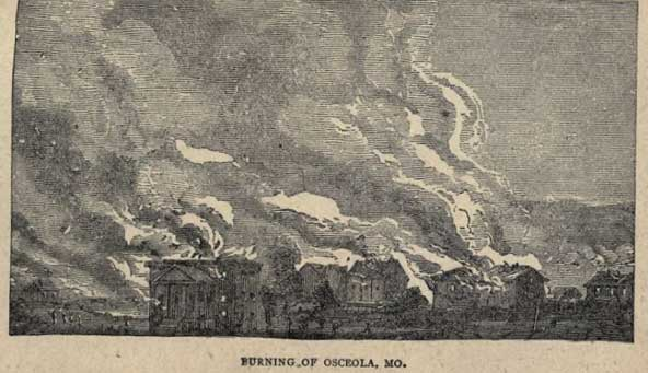 The Burning of Osceola, Missouri, illustration by James W. Buel 1880.