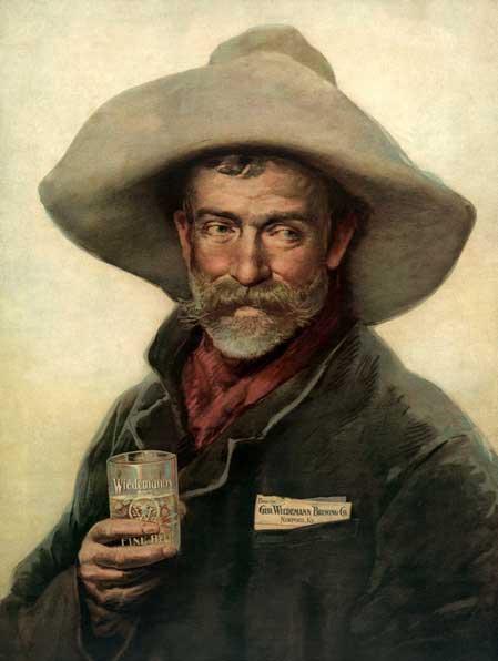 Cowboy drinking Wiedemann Beer
