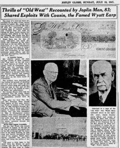 George Earp in the newspaper, 1947.