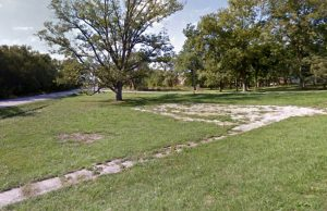 Old foundation and sidewalk in Lock Springs, Missouri courtesy Google Maps.