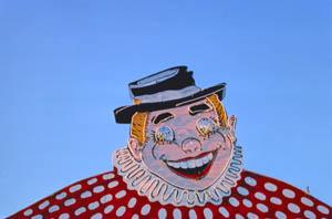 Jolly Cholly Fun Land clown in North Attleboro, Massachusetts by John Margolies, 1978.