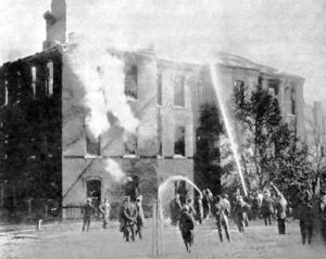 St. Johns Catholic School fire in Peabdoy, Massachussetts, 1915.