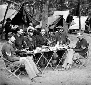 Non-commissioned officers meal in the Civil War.
