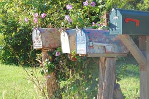 Mailboxes in Montserrat, Missouri by Kathy Weiser-Alexander.